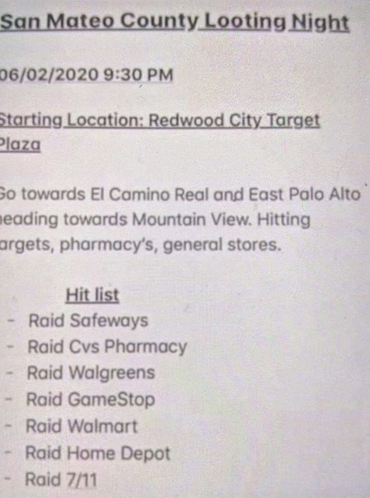 "A flier circulating on social media advertises a ""San Mateo County Looting Night."""