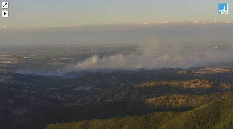 A view of the Quail Fire from an ALERTWildfire camera in the North Bay.