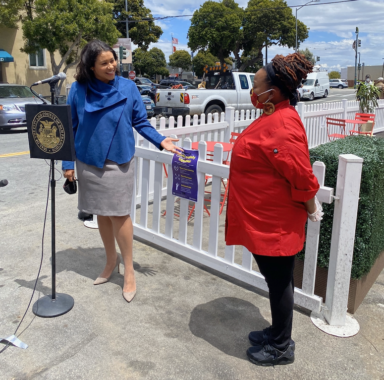 Mayor London Breed with Cafe Envy owner April Shears.