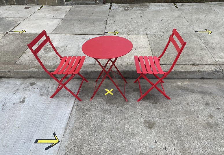 A new socially-distanced outdoor dining set up at a Bayview District restaurant.