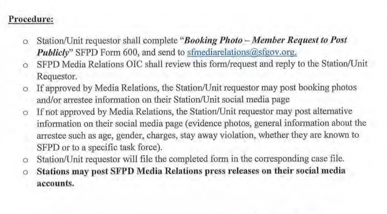 A look at the internal memo distributed for SFPD's new procedure on releasing mug shots.