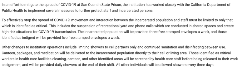 A screenshot of the policy change posted to the California Department of Corrections and Rehabilitation website.