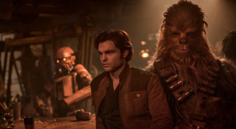 "Alden Ehrenreich as 'Han Solo' and Joonas Suotamo as 'Chewbacca' in ""Solo: A Star Wars Story"""