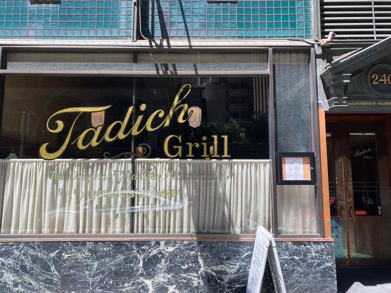 The front window of San Francisco's oldest restaurant, Tadich Grill on California St.