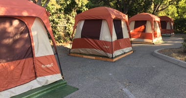 Hope Village is a homeless camp in San Jose offering new tents, showers, storage lockers and other ameniteis.