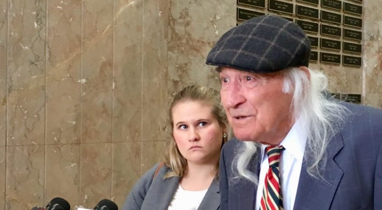 Tony Serra, defense attorney for Ghost Ship master tenant Derick Almena, addresses reporters after his opening statement in Alameda County Superior Court, Oakland, May 1, 2019