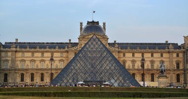 A general view of the Louvre Palace and museum and pyramid in Paris.
