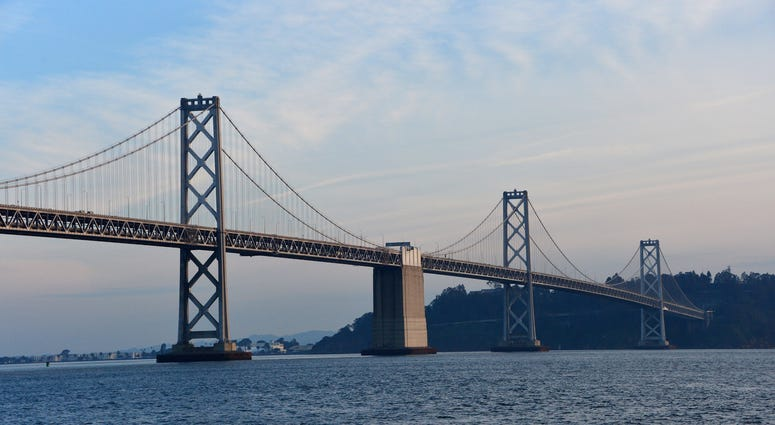 Feb 4, 2016; San Francisco, CA, USA; General view of the Bay Bridge prior to Super Bowl 50.