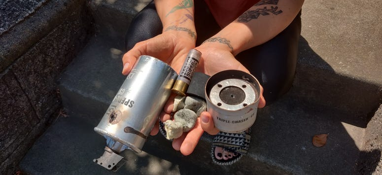 A closer look at the gas canister found in a front yard in Vallejo.