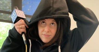 KCBS Radio reporter Megan Goldsby models the bulletproof Wonder Hoodie.