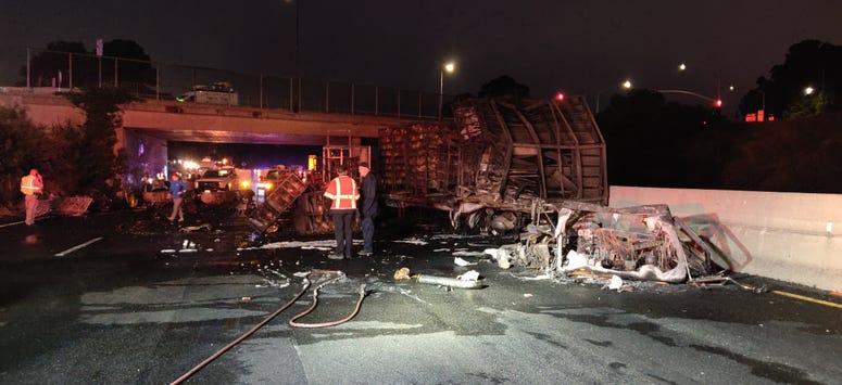 Truck wreckage on westbound Interstate 80 in San Pablo
