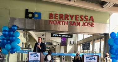South Bay leaders gather to celebrate the opening of BART service to San Jose