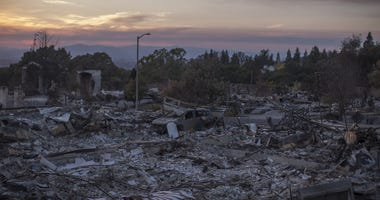 Homes destroyed by the Tubbs Fire seen near Fountaingrove Parkway
