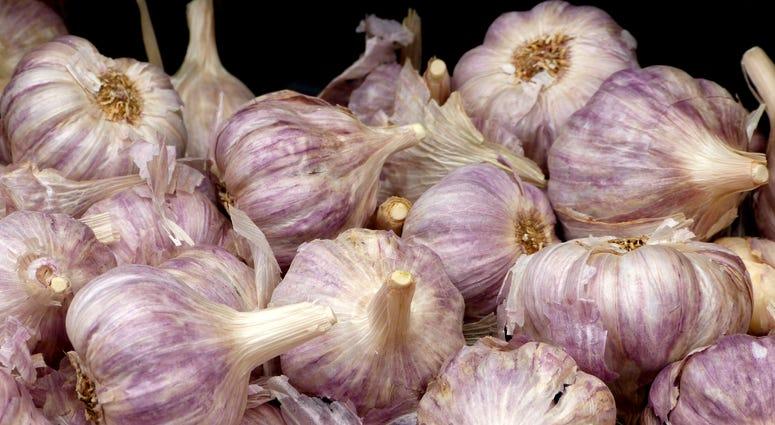 Heads of garlic.