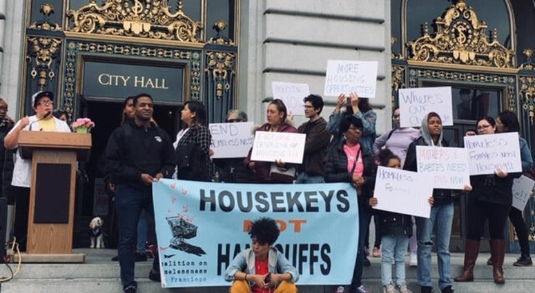 A group of homeless moms rallied at San Francisco city hall to advocate for more funding on May 9, 2019.