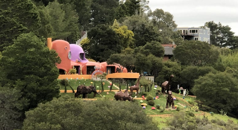 """The famous so-called """"Flintstones House"""" of Hillsborough as seen from I-280"""