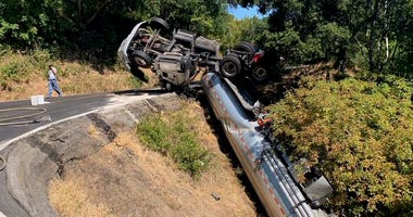 Fuel Tanker Overturns In Marin County