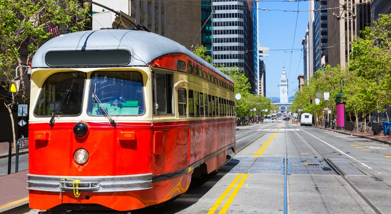 Street car on Market Street, with Ferry Building in background