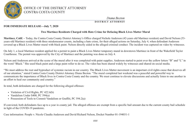 Martinez District Attorney Release on Hate Crime to BLM Mural