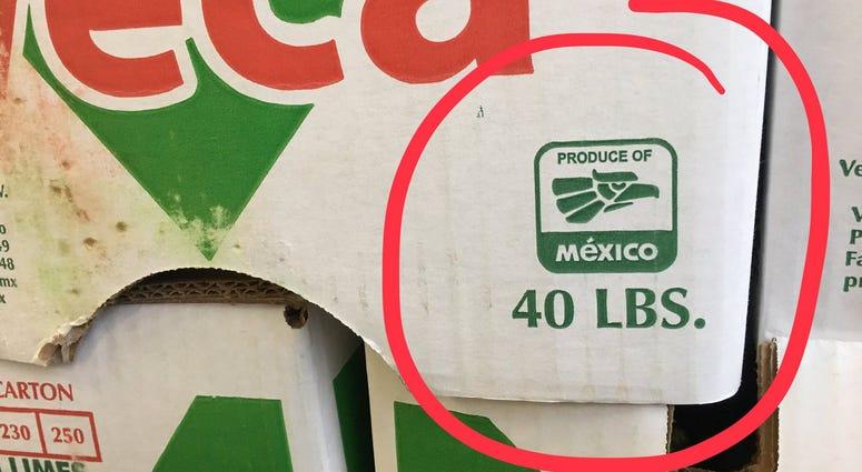 Produce box from Mexico