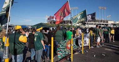 Oakland As fans line up at Coliseum