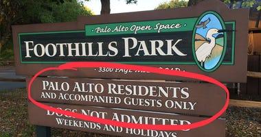 foothills park sign