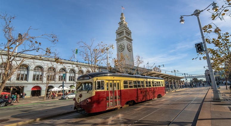 MUNI Train in front of San Francisco Ferry Building in Embarcadero in San Francisco