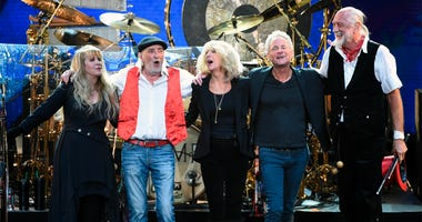 File - In this Jan. 26, 2018 file photo, Fleetwood Mac band members, from left, Stevie Nicks, John McVie, Christine McVie, Lindsey Buckingham and Mick Fleetwood appear at the 2018 MusiCares Person of the Year tribute honoring Fleetwood Mac in New York. Th