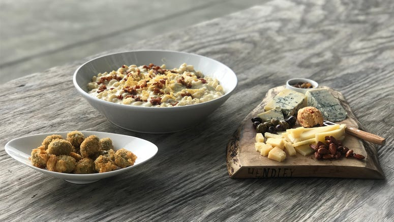 Fried Original Blue-Stuffed Olives and Creamy Toma Mac & Cheese with Toasted Breadcrumbs
