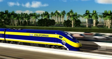 Artist rendering of a California High-Speed Rail train