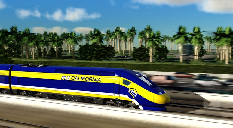 Artist rendering of a California High-Speed Rail train