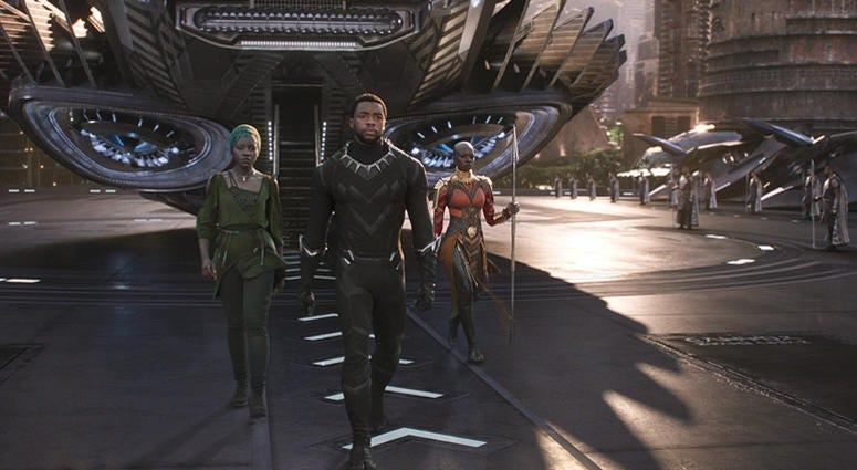 Chadwick Boseman, Danai Gurira, and Lupita Nyong'o in 'Black Panther'