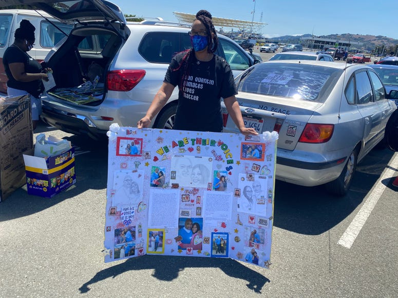 Protesters march to San Quentin calling for the mass release of prisoners.