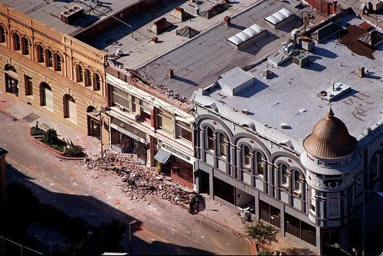Cooper Street in Santa Cruz, California, is shown after the Loma Prieta earthquake in 1989.