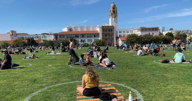 Groups socially distance at San Francisco's Mission Dolores Park
