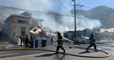 Marin County firefighters battle a fire in Stinson Beach, June 16, 2020