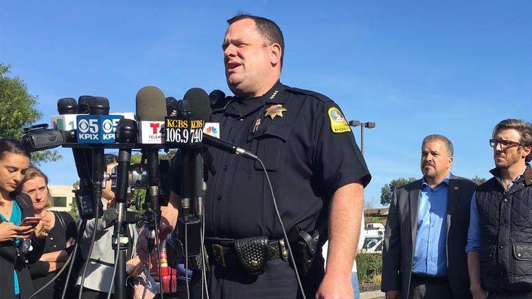 San Bruno Police Chief Ed Barberini addressing reporters near YouTube headquarters