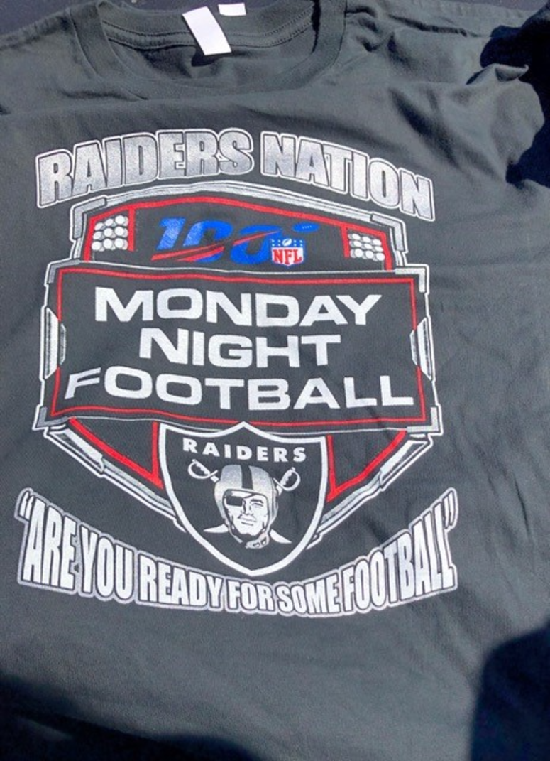 ICE Agents confiscated $11,000 in  allegedly counterfeit sports merchandise during a raid on vendors at the Oakland Raiders game on Sept. 9, 2019.