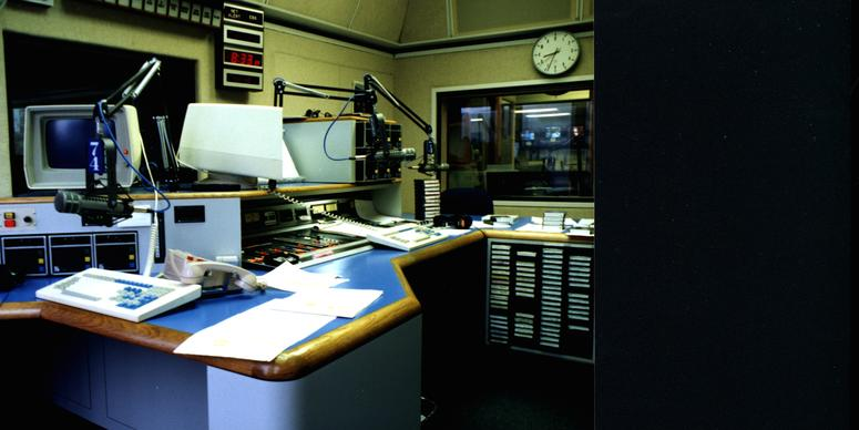 Co-anchor position in Studio A at KCBS Radio Embarcadero Center studios