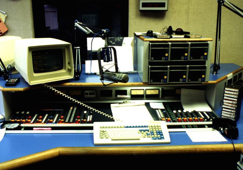 Anchor position in Studio A at KCBS Radio Embarcadero Center studios
