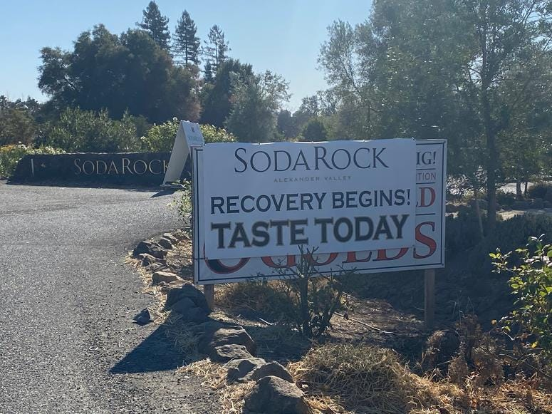 Despite suffering major damage in the Kincade fire, the Soda Rock Winery remains opens for business in Sonoma County.