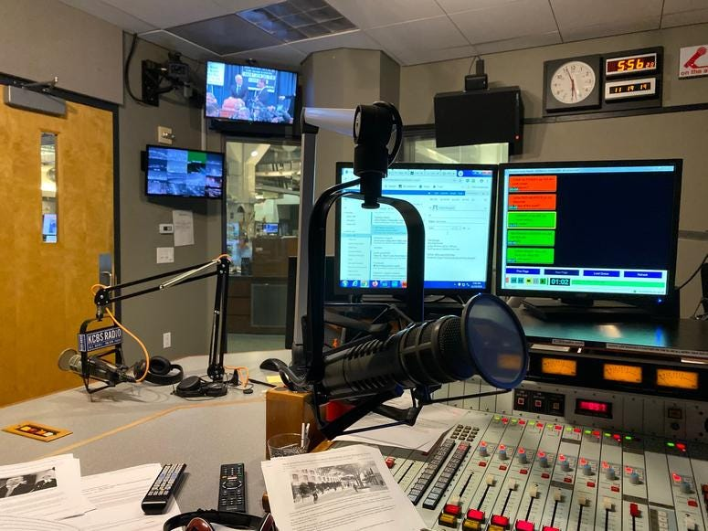 The view inside KCBS Radio's studio on Nov. 19, 2019.