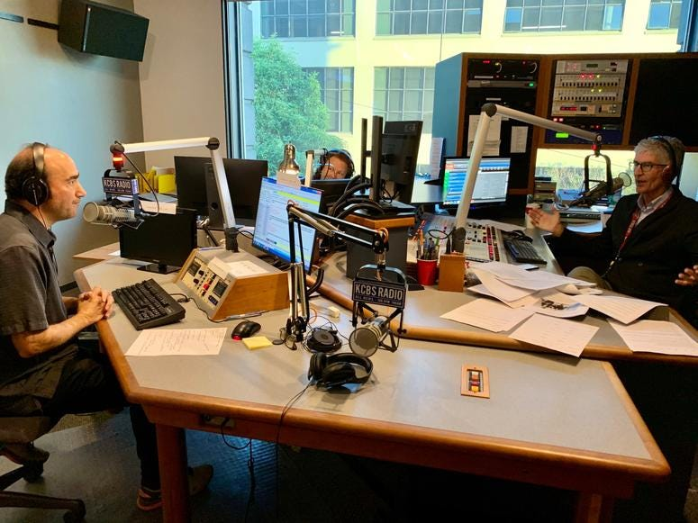 Doug Sovern, Susan Leigh Taylor and Stan Bunger in KCBS Radio Studio A