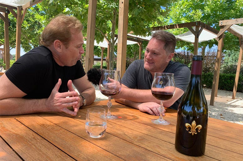 Winemaker Jean-Charles Boisset with Foodie Chap, Liam Mayclem at DeLoach Vineyards