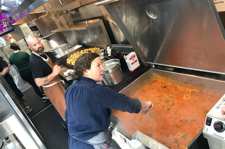 Chef Traci Des Jardin making Bolognaise (Photo credit: Foodie Chap/Liam Mayclem)