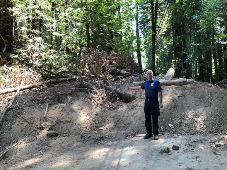 Monte Rio Fire Chief Steve Baxman points out major debris flow left sitting for months