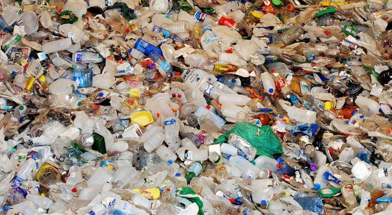 4/12/2006 - File photo dated 12/4/2006 of plastic at a recycling bay at BIFFA recycling plant in Beaumont Leys in Leicestershire. Prime Minister Theresa May will pledge to eliminate all avoidable plastic waste within 25 years as she unveils the Government