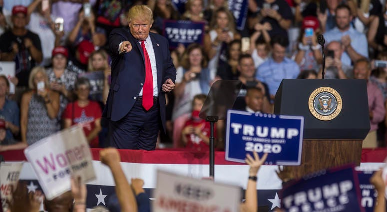 President Donald Trump speaks during a Keep America Great rally on July 17, 2019 in Greenville, North Carolina.