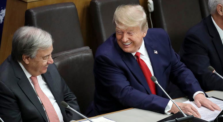 United Nations Secretary General Antonio Guterres talks with U.S. President Donald Trump during a meeting on religious freedom at U.N. headquarters on September 23, 2019 in New York City.