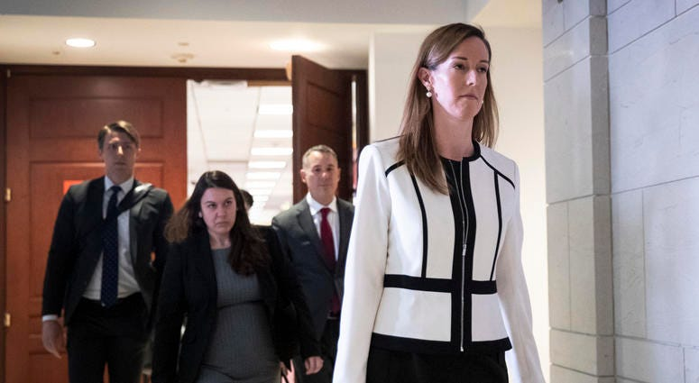 Jennifer Williams, an aide to Vice President Mike Pence, exits a deposition with the House Intelligence, Foreign Affairs and Oversight committees at the U.S. Capitol on November 7, 2019.